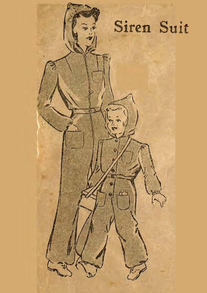 e2e8ca33d53 Vintage 1940 s Sewing Pattern  Child s Siren Suit