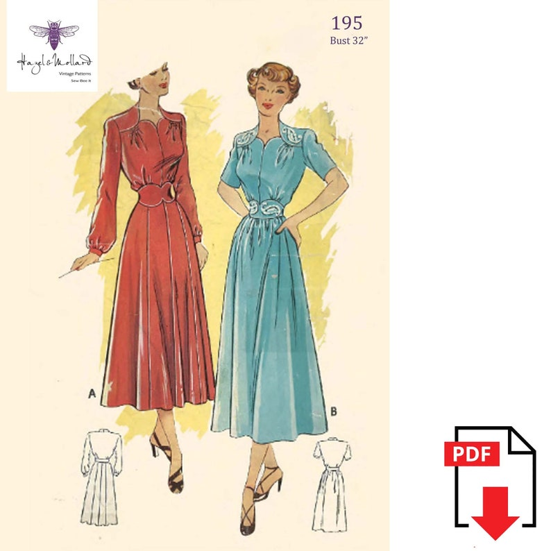 1940s Sewing Patterns – Dresses, Overalls, Lingerie etc Wartime Dress Shoulder Yokes Sweetheart Bust 32