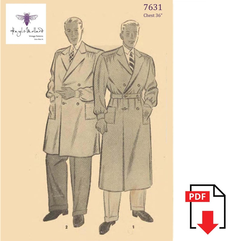 1930s Men's Fashion Guide- What Did Men Wear? Vintage 1930s Sewing Pattern: Mens Debonair Trench Coat Chest 36