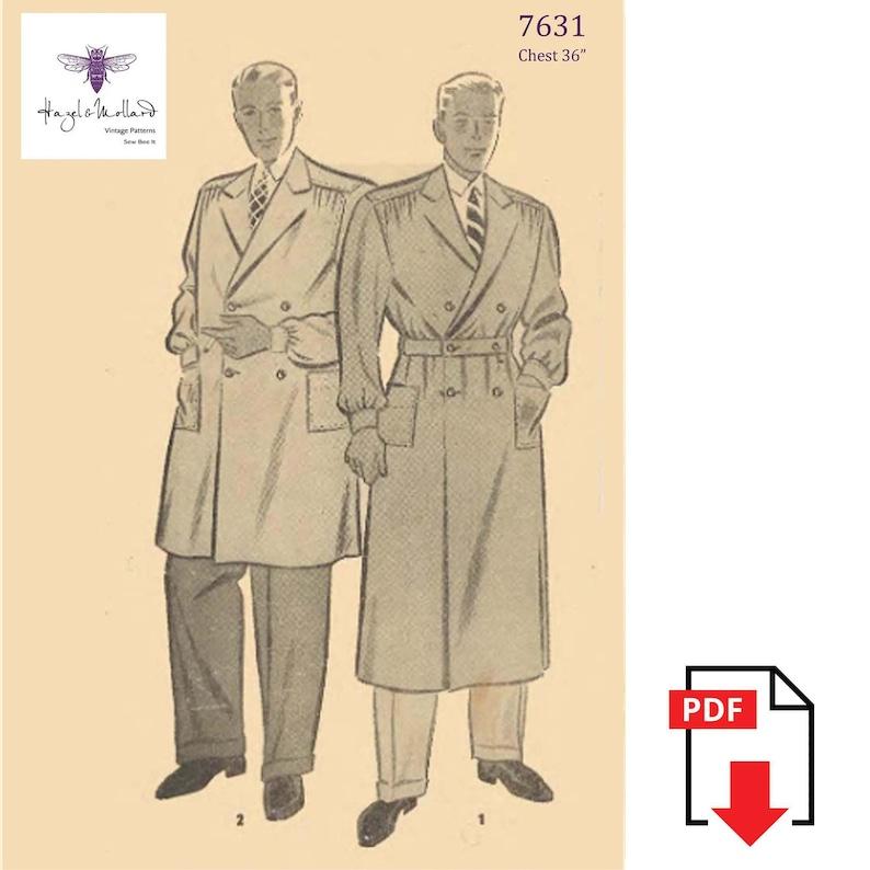 1930s Sewing Patterns- Dresses, Pants, Tops Vintage 1930s Sewing Pattern: Mens Debonair Trench Coat Chest 36