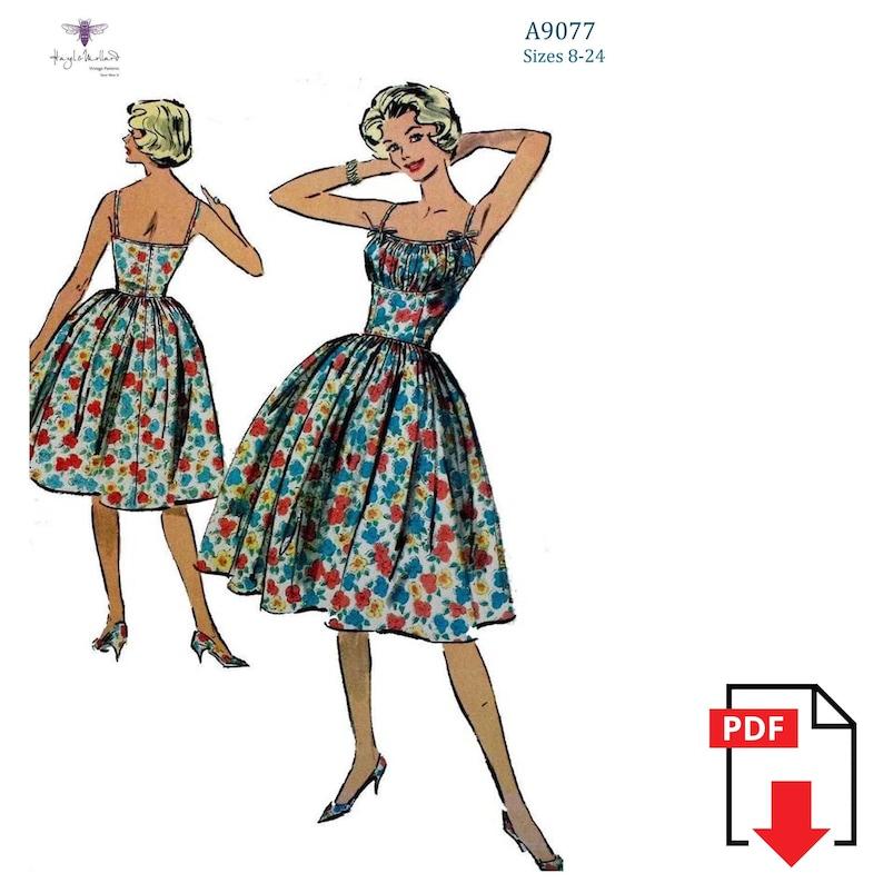 1950s Sewing Patterns | Dresses, Skirts, Tops, Mens Vintage 1950s 50s Sewing Pattern: Rockabilly - Marilyn Monroe Shoe String Dress Sizes 8-10-12-14-16-18-20-24 PDF Instant Download $14.83 AT vintagedancer.com