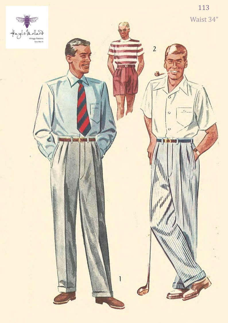 Men's Vintage Reproduction Sewing Patterns Vintage 1950s Sewing Pattern: Mens Slacks Pants Trousers Shorts Pleats Peaky Blinders Waist 34