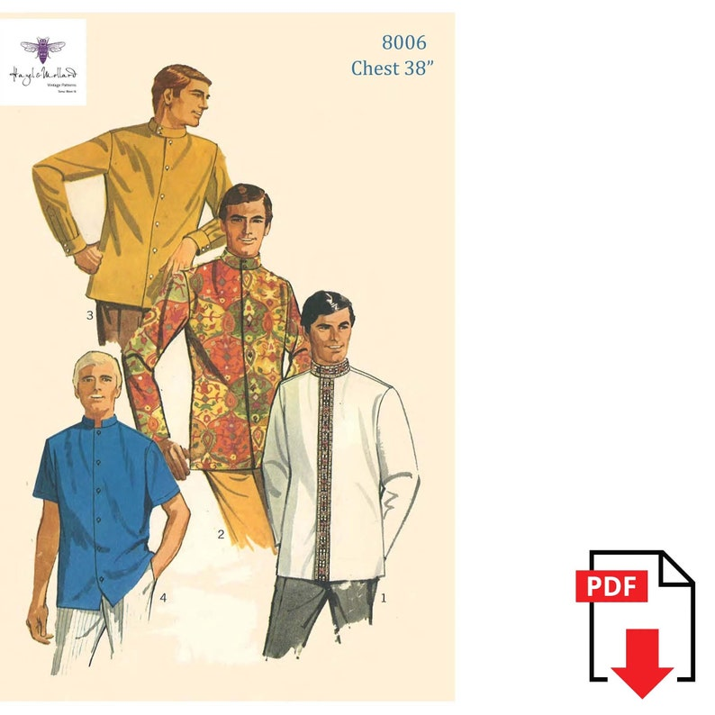 1960s Sewing Patterns | 1970s Sewing Patterns Vintage 1960s Sewing Pattern: Mens Nehru Shirt - Beatles - Guru Shirt Chest 38