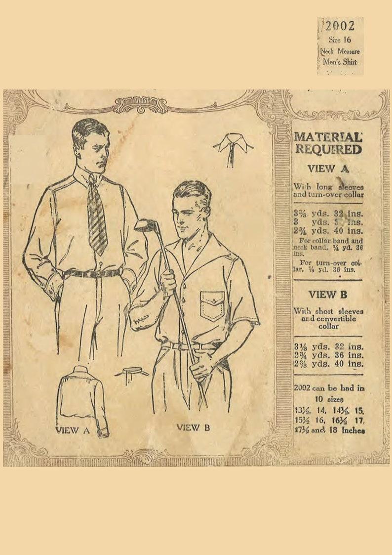 Men's Vintage Reproduction Sewing Patterns 1920s Vintage Sewing Pattern Mens Shirt Sports Shirt Size Neck 16