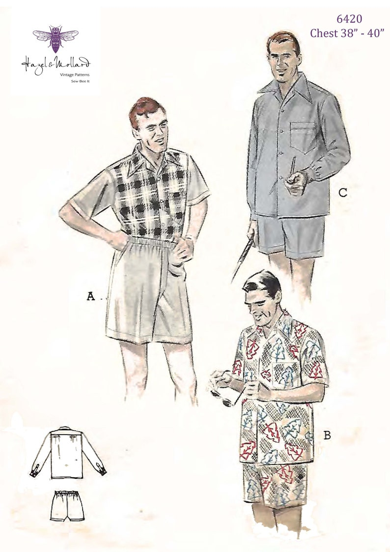 Men's Vintage Reproduction Sewing Patterns Vintage 1950s Sewing Pattern: Mens Sport Shirt & Boxer Shorts Medium $25.65 AT vintagedancer.com