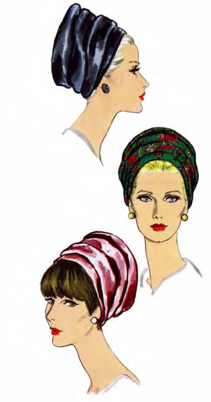 1960-Schnittmuster selten schicke Turban Hüte seltene