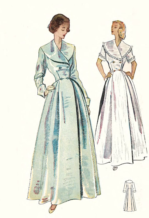 1950\'s Vintage Sewing Pattern: Women\'s Dressing Gown | Etsy