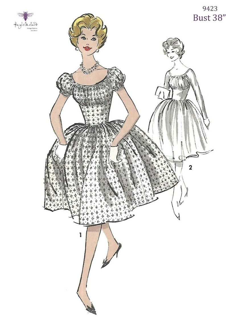 1950s Sewing Patterns | Dresses, Skirts, Tops, Mens Vintage 1950s Sewing Pattern Reproduction - Marilyn Style Dress Bust 38