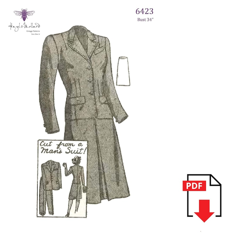 1940s Sewing Patterns – Dresses, Overalls, Lingerie etc Vintage 1940s Sewing Pattern: Womens Suit cut from a Mans Suit. Bust 34