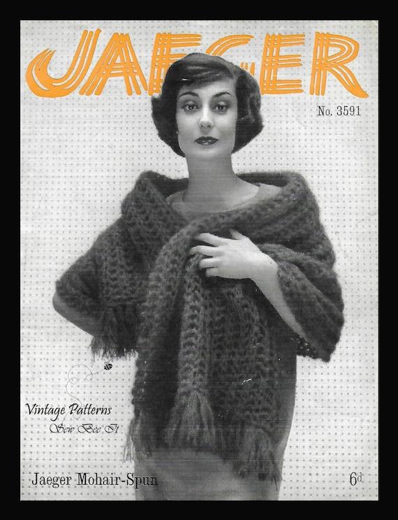 1950s Jaeger Knitting Pattern Mohair Spun Stole Wooden Etsy