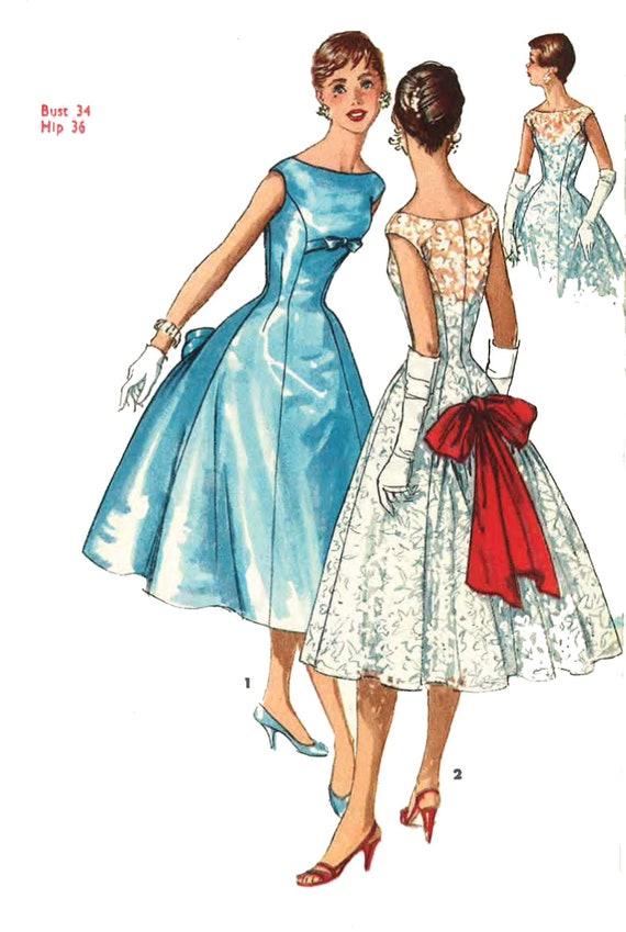 Jahrgang 1950 Muster nähen: Hepburn Stil Kleid mit Prinzessin   Etsy