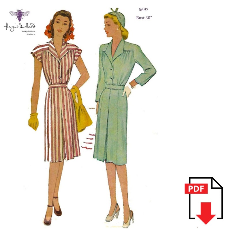 1940s Sewing Patterns – Dresses, Overalls, Lingerie etc Vintage 1940s Sewing Pattern Yoked Pleated Dress Shirt Dress Bust 30