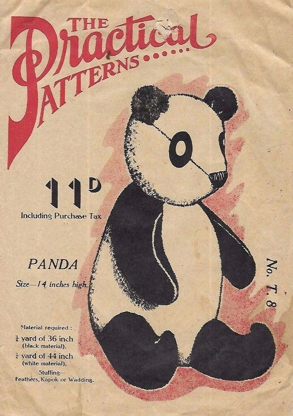 Vintage 1940s Sewing Pattern Panda Bear Toy 14 Inches