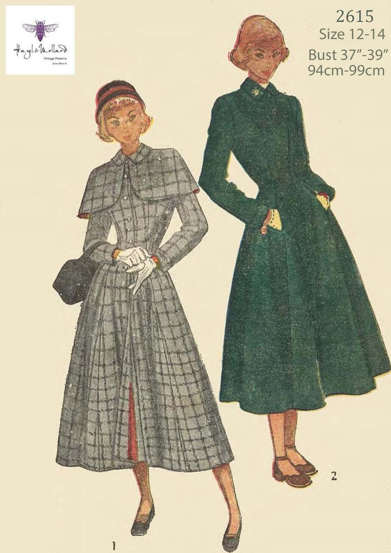 1950s Fabrics & Colors in Fashion Vintage Inspired 1940s Sewing Pattern WW11 Fitted & Flared Coat Detachable Cape Bust 37