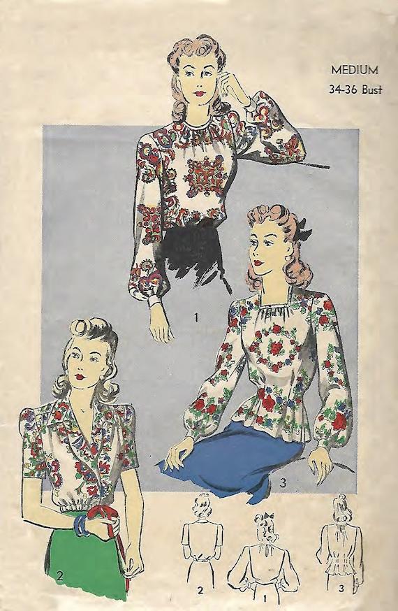 Jahrgang 1940 Muster nähen: elegante Bluse Büste 34 | Etsy
