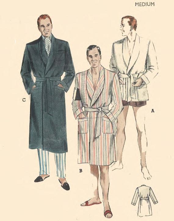 Jahrgang 1950 Nähen Muster Herren Morgenmantel Gewand Smoking