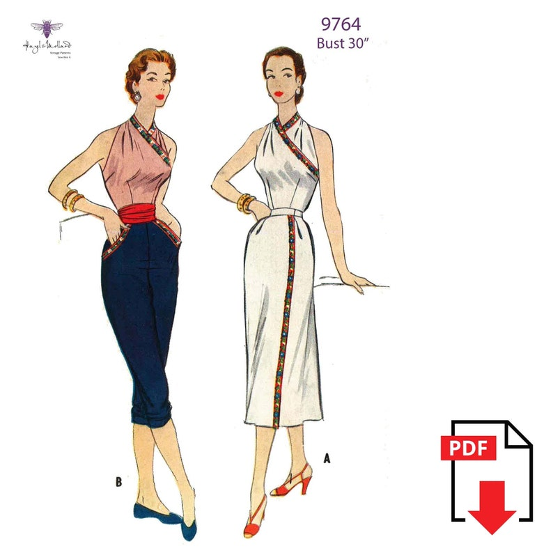 1950s Sewing Patterns | Dresses, Skirts, Tops, Mens Vintage 1950s Sewing Pattern: Halter Top Wrap Skirt & Cropped Pants Bust 30
