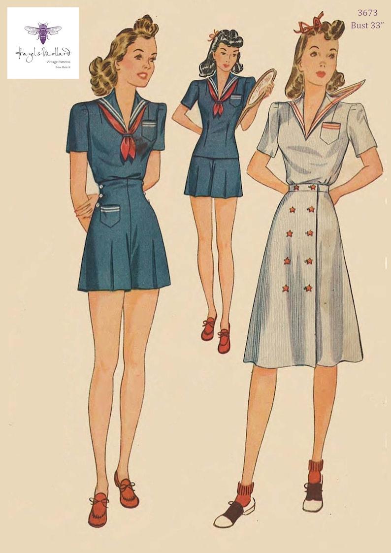 1940s 40s sailor suit 2 styles blouse nautical trousers ...