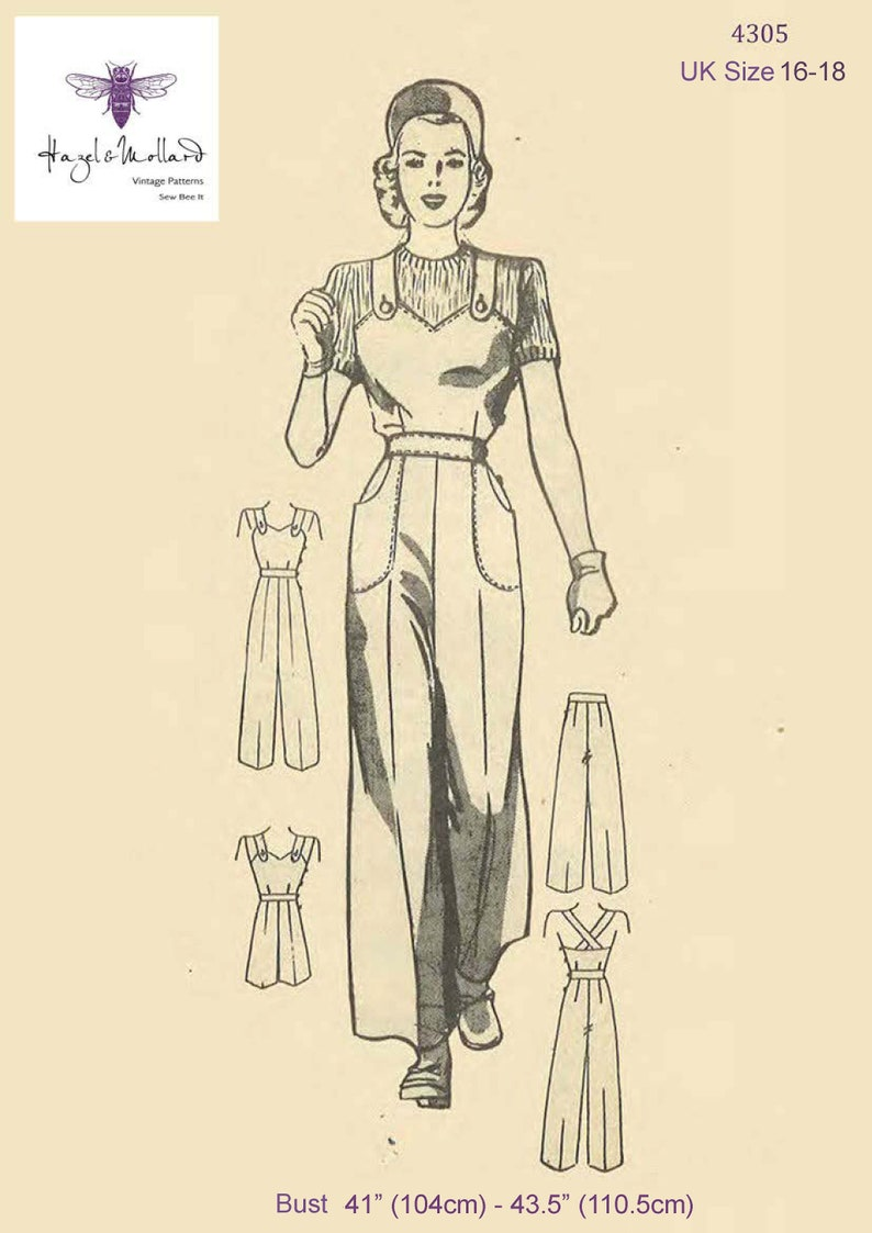 1940s Sewing Patterns – Dresses, Overalls, Lingerie etc Vintage 1940s Sewing Pattern: Land Girl Overalls & Cap Dungarees Rosie Jumpsuit UK Size 16-18 Bust 41