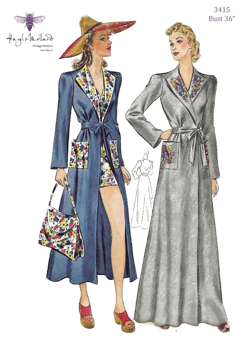 1930s Fashion Colors & Fabric Vintage 1930s Sewing Pattern: Beach Coat Bag & House Coat Robe Dressing Gown. Bust 36