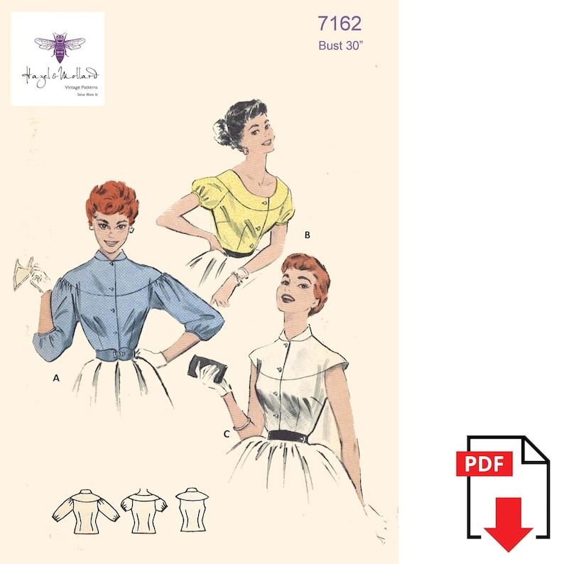 1950s Sewing Patterns | Dresses, Skirts, Tops, Mens Vintage 1950s Sewing Pattern: Cape-Yoked Blouse Bust 30