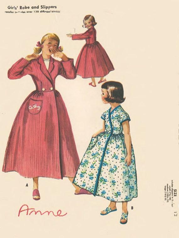 Jahrgang 1950 Muster nähen: Girls Weihnachten Morgenmantel | Etsy