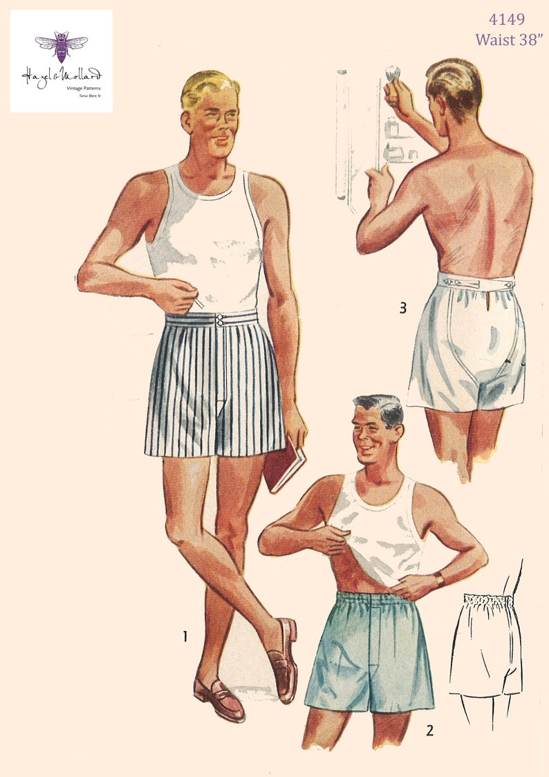 1950s Sewing Patterns | Dresses, Skirts, Tops, Mens Vintage 1950s Sewing Pattern: Mens Underwear Size 38