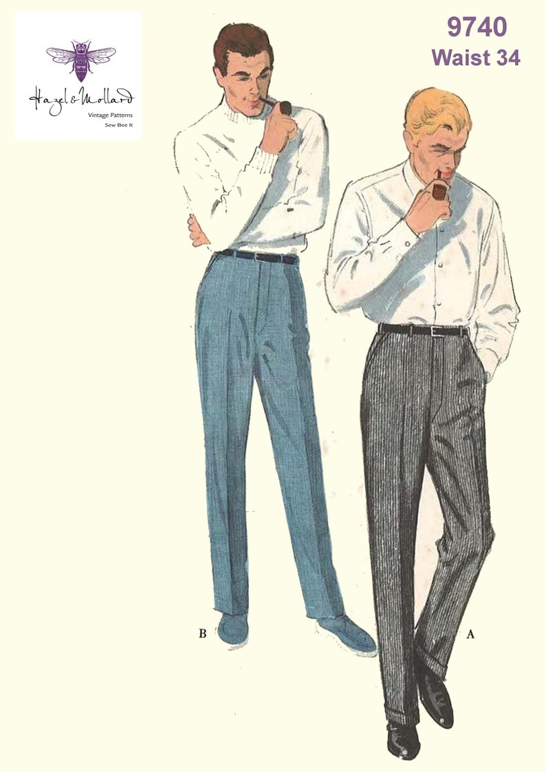 1950s Sewing Patterns | Dresses, Skirts, Tops, Mens Reproduction Vintage 1950s 1960s Sewing Pattern: Mens Regulation Slacks Waist 34