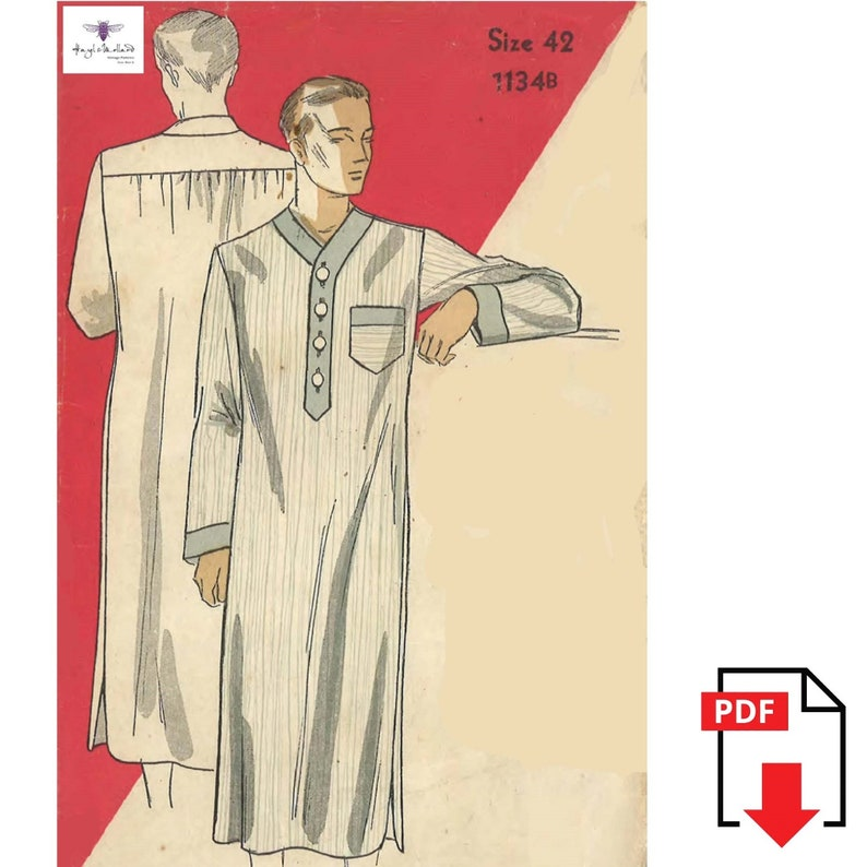 1930s Sewing Patterns- Dresses, Pants, Tops 1930s Vintage Sewing Pattern: Mans Nightshirt WWII Chest 42