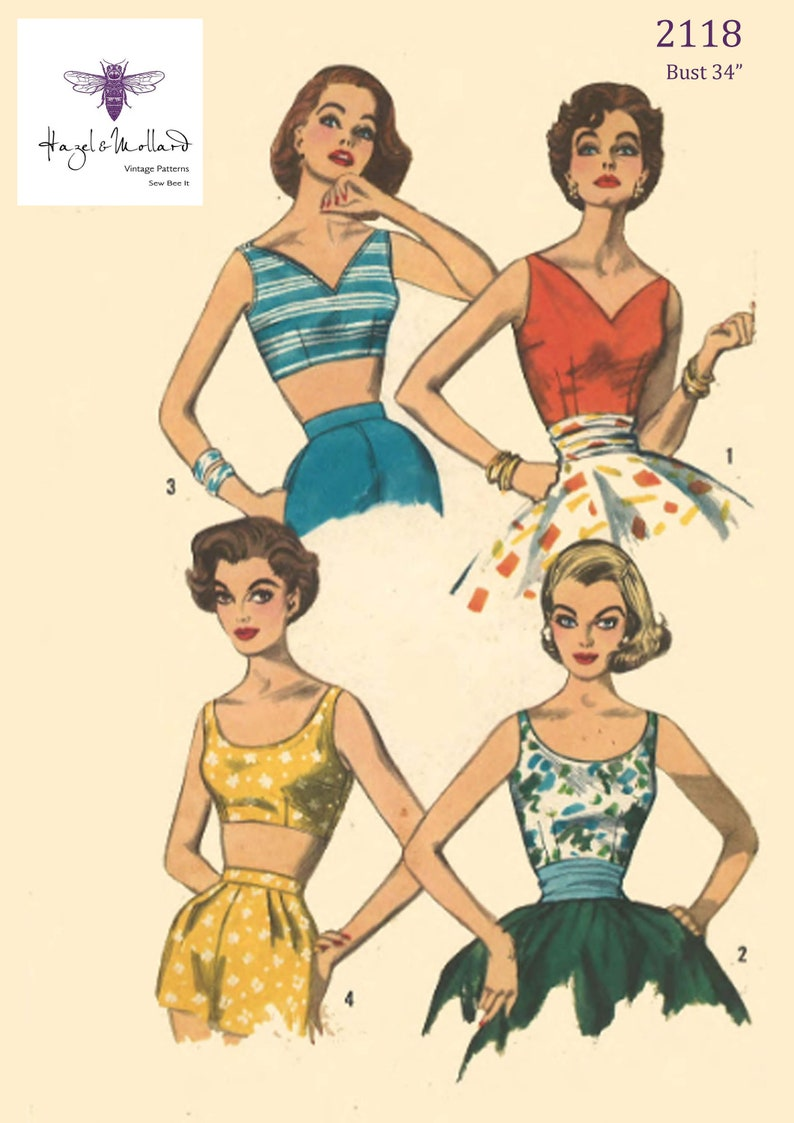 1950s Sewing Patterns | Dresses, Skirts, Tops, Mens Vintage 1950s Sewing Pattern: Set of Rockabilly Cropped Top Bra Bust 34
