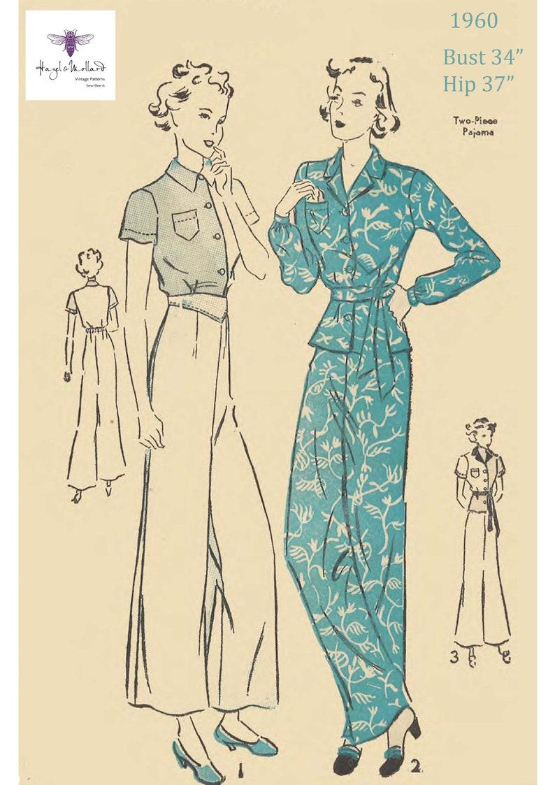 1930s Sewing Patterns- Dresses, Pants, Tops Lounging Pyjamas Pajamas WW2 Bust 34