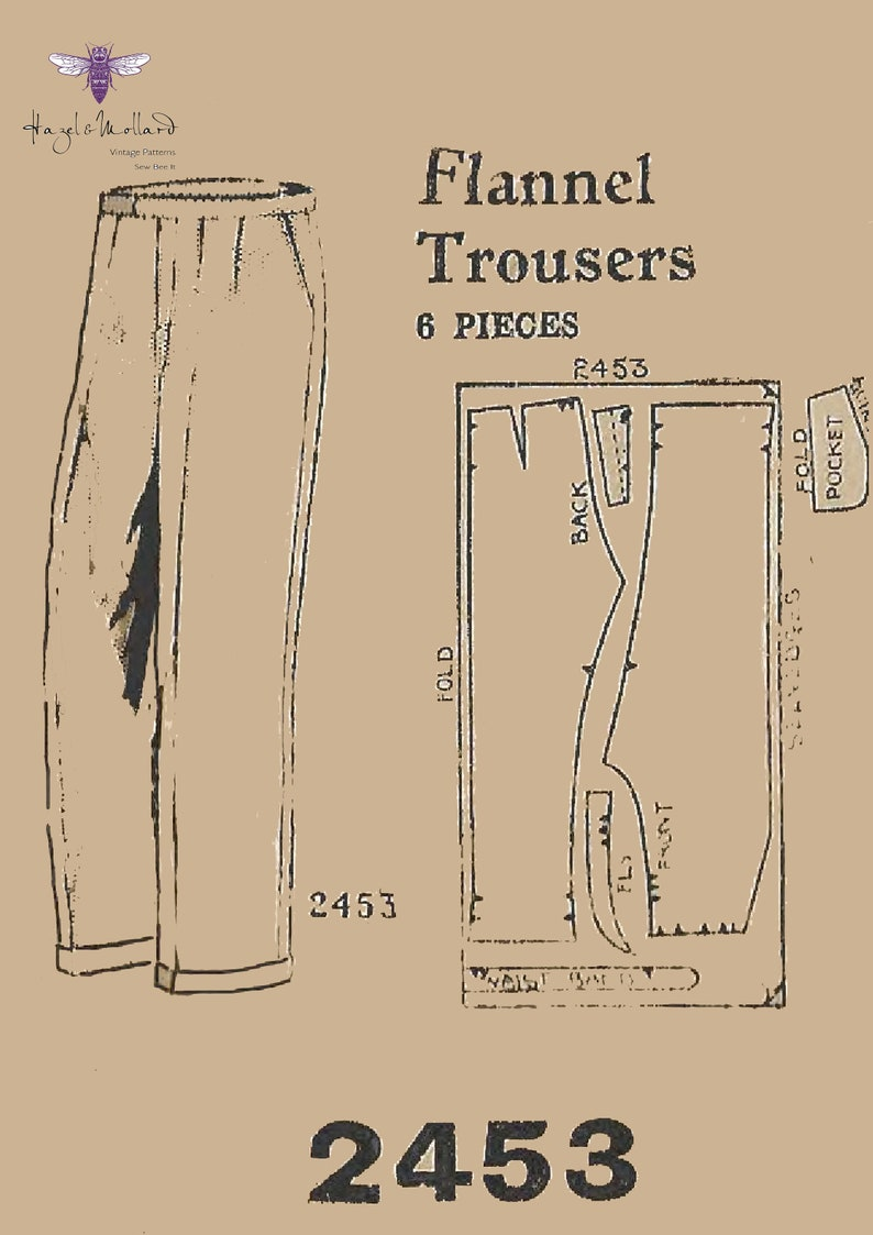 1940s Sewing Patterns – Dresses, Overalls, Lingerie etc Reproduction Vintage 1940s Sewing Pattern Mens Flannel Trousers. Oxford Bags WWII WW2 Waist 32