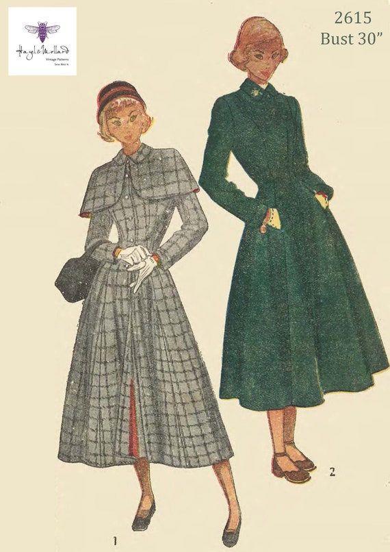 "1940/'s Vintage Sewing Pattern Home front Style Women/'s Coat Jacket Bust 37/""  WW2"