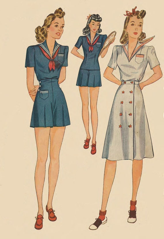Vintage 1940\'s Sewing Pattern WW2 Sailor Collar Playsuit