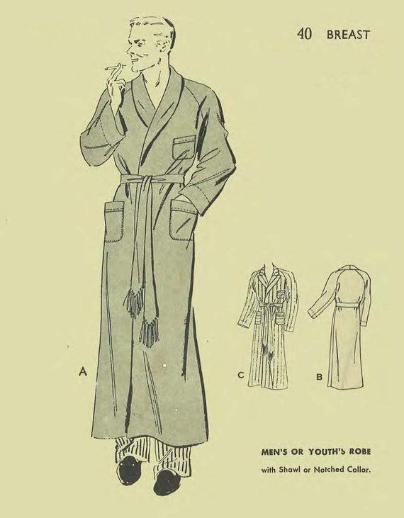 1930-1940-Schnittmuster: Männer ist Kleid Robe Rauchen Jacke | Etsy