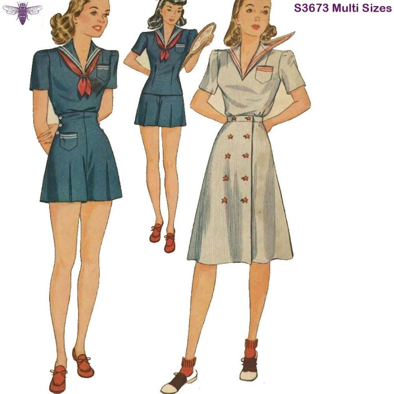 40s-50s Vintage Playsuits, Jumpsuits, Rompers History PDF - Vintage 1940s Sewing Pattern: Sailor Playsuit with High Waist Shorts - Waist 27.5