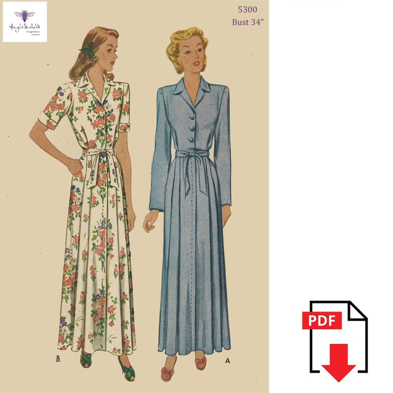 1940s Sewing Patterns – Dresses, Overalls, Lingerie etc  1940s  House Coat Robe Dressing Gown Bust 34