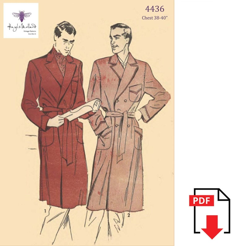 1940s Sewing Patterns – Dresses, Overalls, Lingerie etc Vintage 1940s Sewing Pattern: Mens Dressing Gown Chest 38