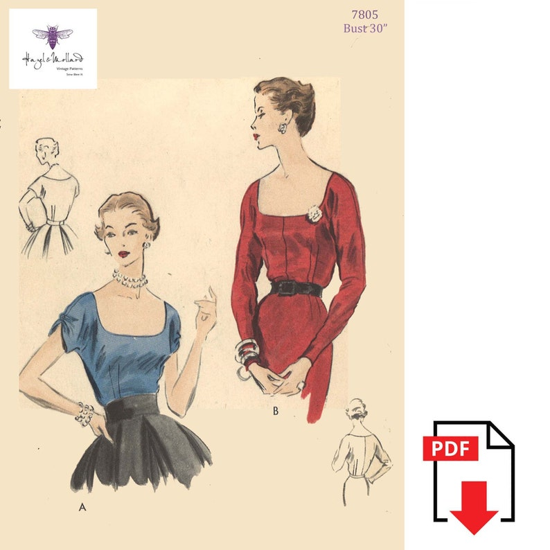 1950s Sewing Patterns | Dresses, Skirts, Tops, Mens Vintage 1950s Sewing Pattern Elegant Square Neckline Cocktail Blouse Bust 30