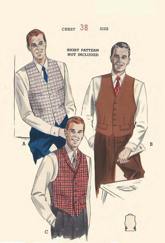 50er Jahre Vintage Schnittmuster Herren-Westen Westen mit   Etsy