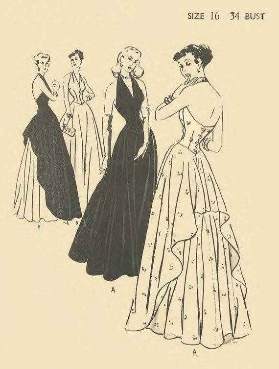 Jahrgang 1940 Muster nähen: Abend Halfter Hals Kleid Kleid | Etsy
