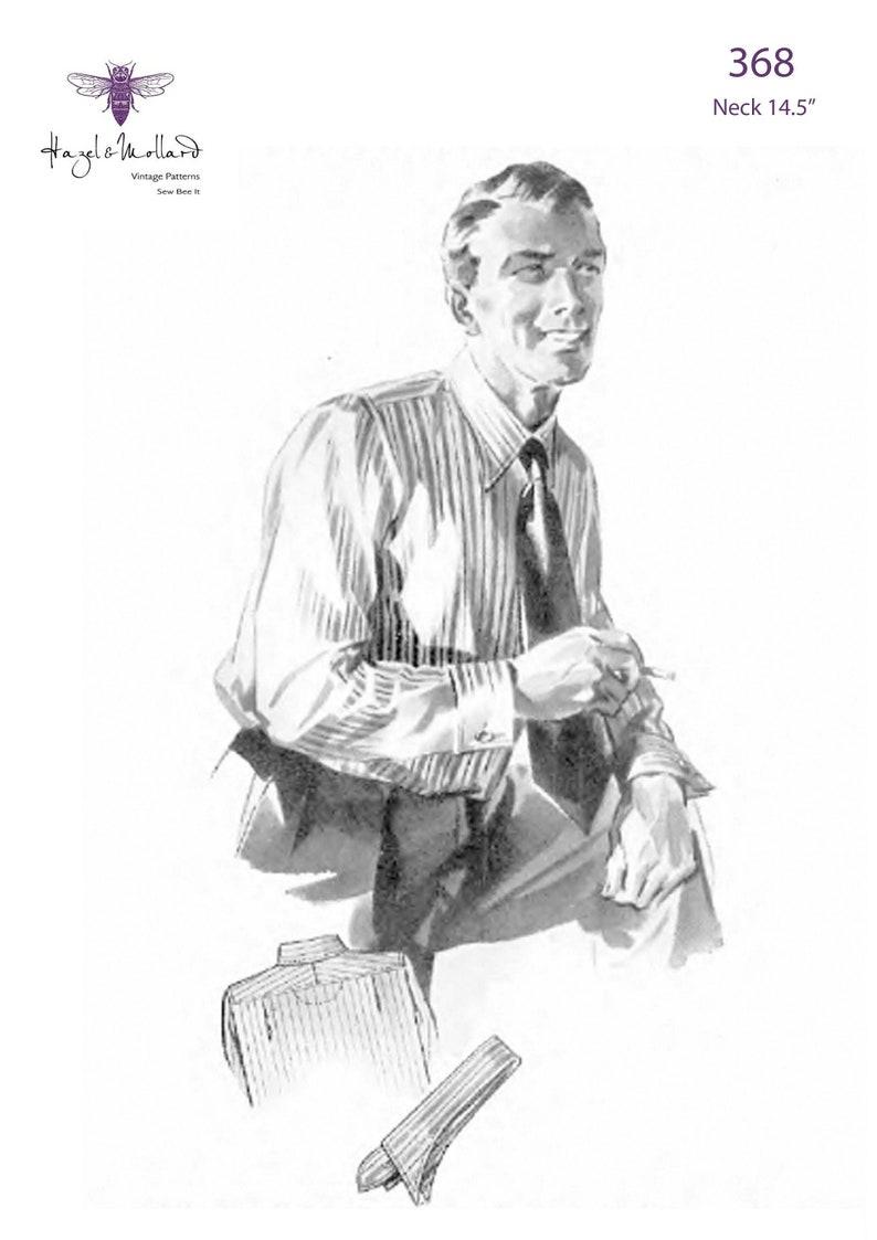 1940s Sewing Patterns – Dresses, Overalls, Lingerie etc Vintage 1940s Sewing Pattern: Mens Shirt Neck 14.5