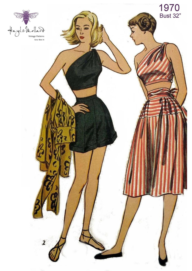 1950s Sewing Patterns | Dresses, Skirts, Tops, Mens Vintage 1950s Sewing Pattern: Womens Beachwear Bust 32