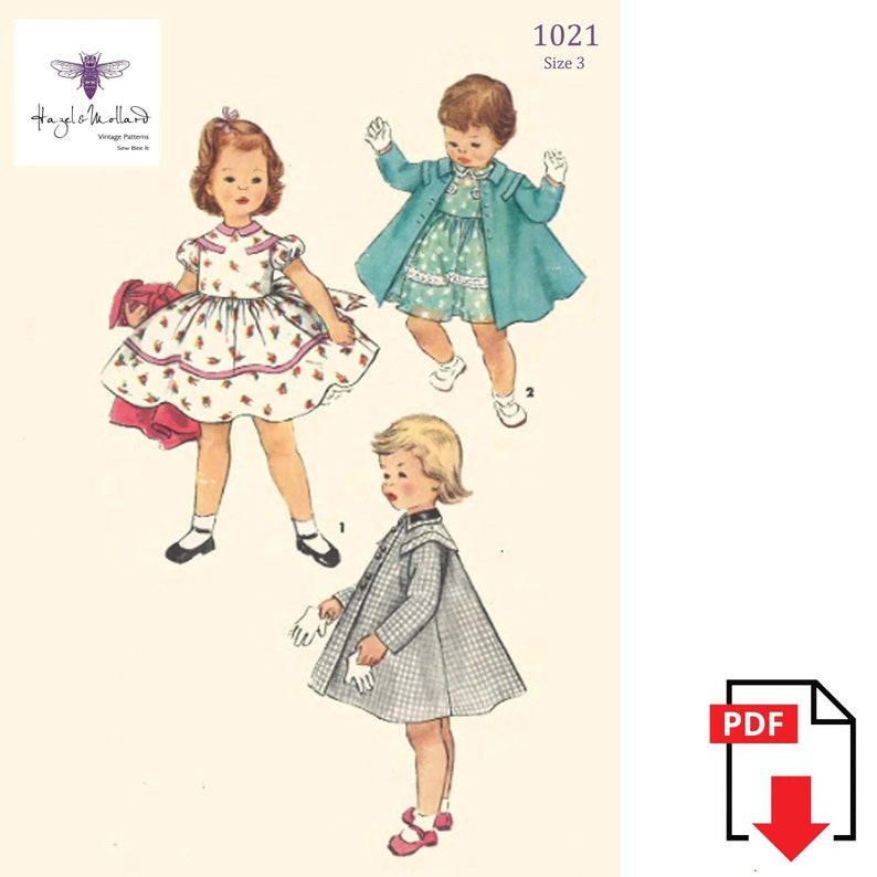 Kids 1950s Clothing & Costumes: Girls, Boys, Toddlers PDF - Vintage 1950s Sewing Pattern: Girls Toddlers Pretty Dress & Coat - Size 3 - Instantly Print at Home $10.03 AT vintagedancer.com