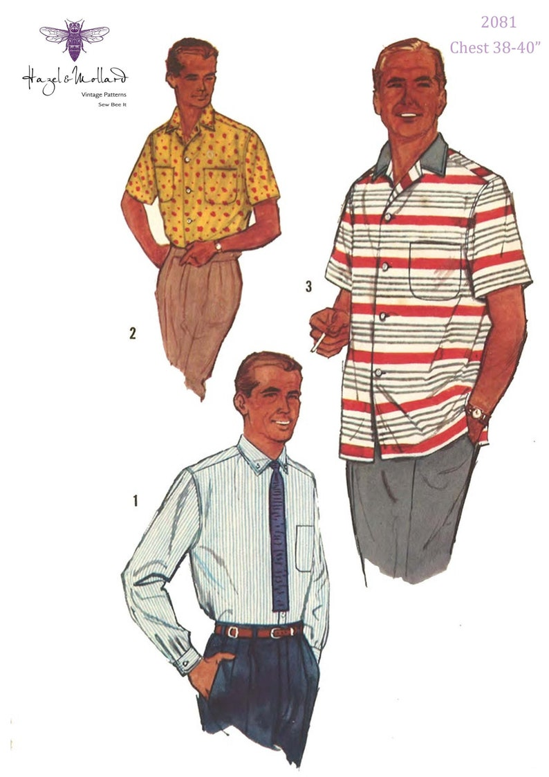 1950s Sewing Patterns | Dresses, Skirts, Tops, Mens Vintage 1950s Sewing Pattern: Mens Spots Shirt with Yoke & Pocket Medium 38