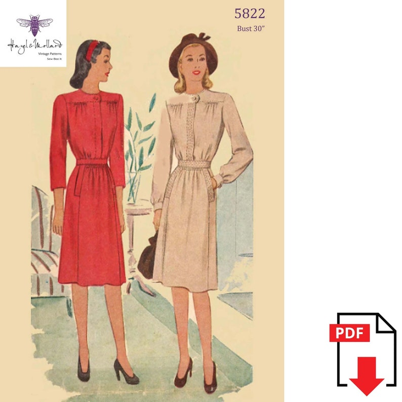 1940s Sewing Patterns – Dresses, Overalls, Lingerie etc Vintage 1940s Sewing Pattern: Long Sleeved Day Dress. Bust 30