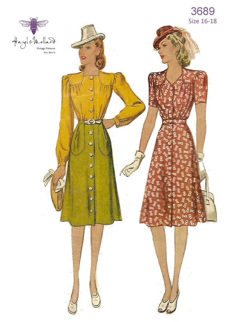 1940s Sewing Patterns – Dresses, Overalls, Lingerie etc Vintage 1940s Sewing Pattern: Two Piece Dress - Blouse & Skirt WW2 Wartime 16-18 Bust 41