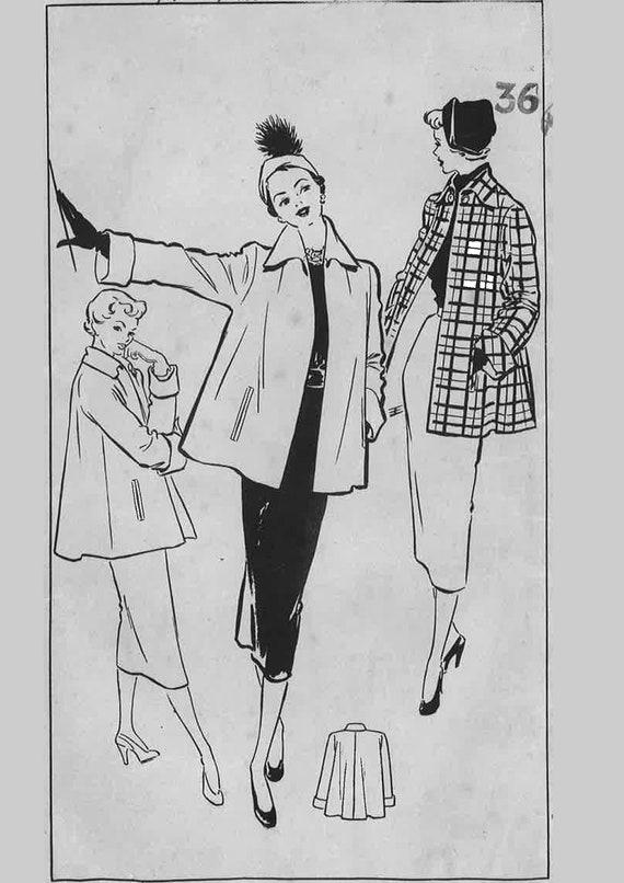 Jahrgang 1950 Muster nähen: Schwingen Jacke mit Taschen. Büste | Etsy