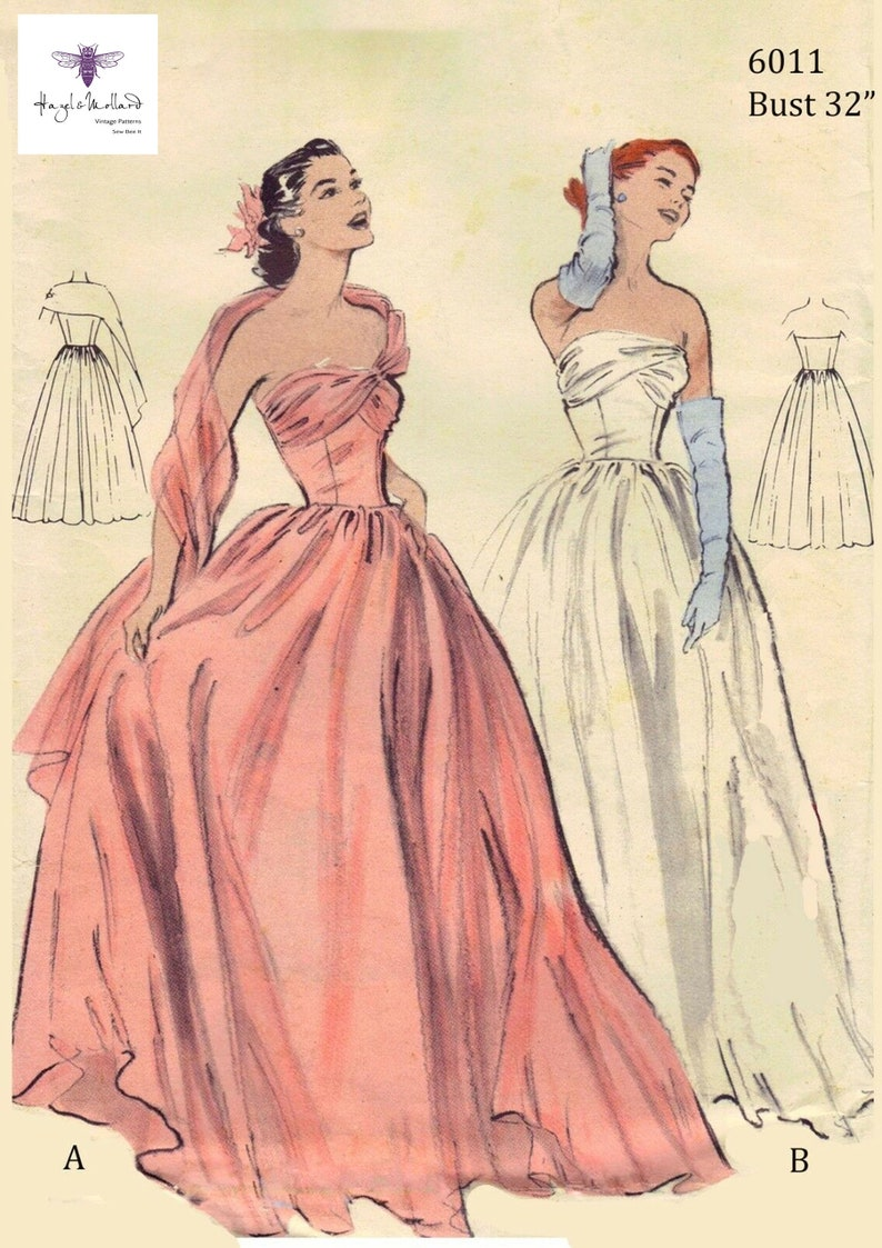Vintage 1950/'s Sewing Pattern Ball Gown Prom Dress Bridal Gown Bust 32