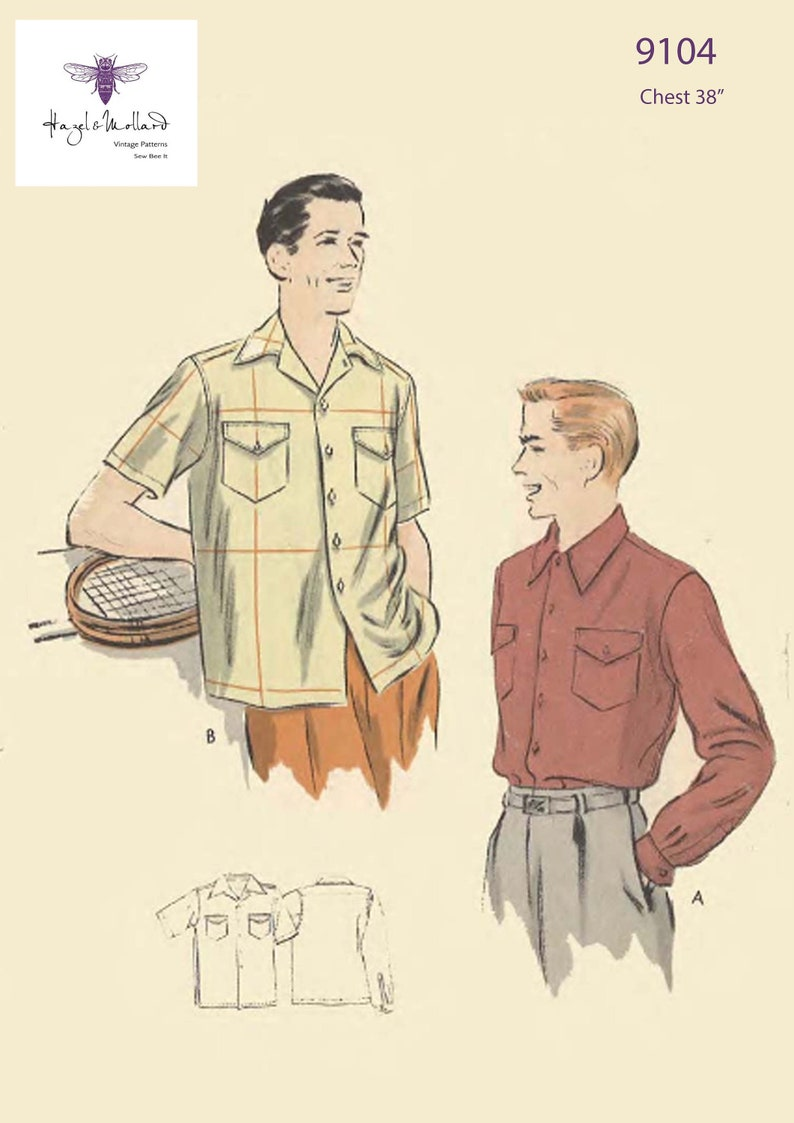 1950s Sewing Patterns | Dresses, Skirts, Tops, Mens Vintage 1950s Sewing Pattern: Mens Sports Shirt Chest 38